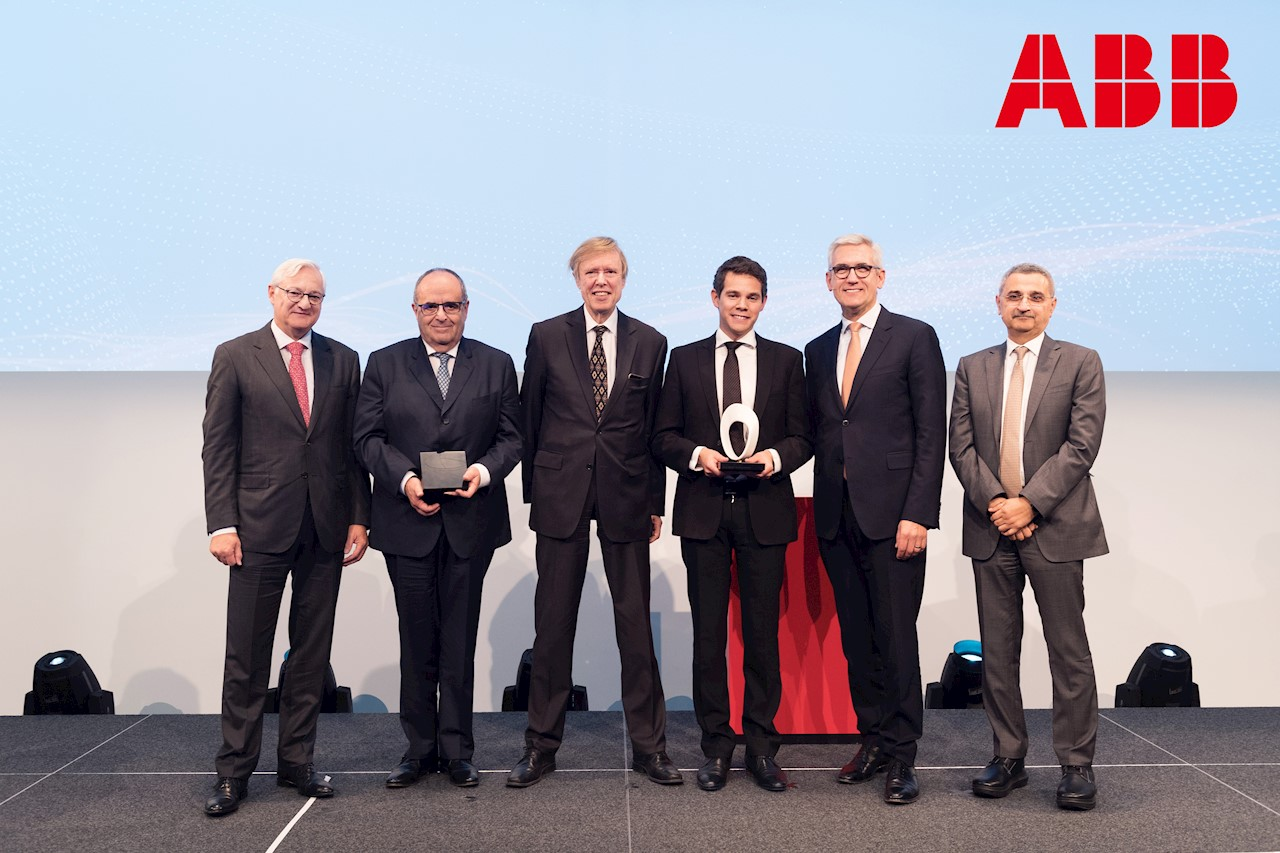 ABB Research Award in Honor of Hubertus von Gruenberg Switzerland's highest research award, worth $300,000, is given for the first time. From left to right: Peter Voser, Chairman of the ABB Board of Directors; Professor Ronnie Belmans, KU Leuven; Hubertus von Gruenberg, former ABB Chairman; Jef Beerten, recipient of the award, KU Leven; Ulrich Spiesshofer, ABB CEO; Bazmi Husain, ABB Chief Technology Officer.