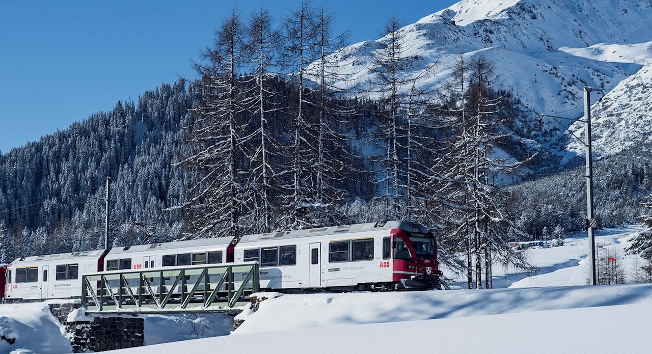 ABB branded Rhaetian Railway train