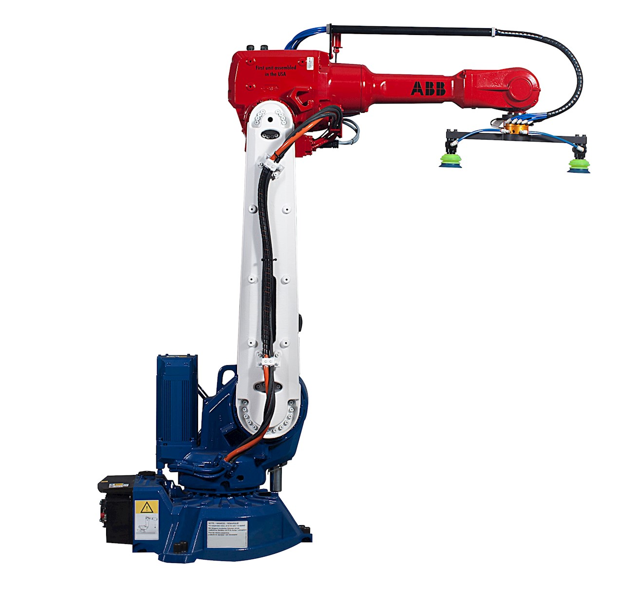 The compact robot,  painted with commemorative red, white and blue paint, will be used for material handling of in-process engine component parts at the Hitachi Greensburg, IN facility