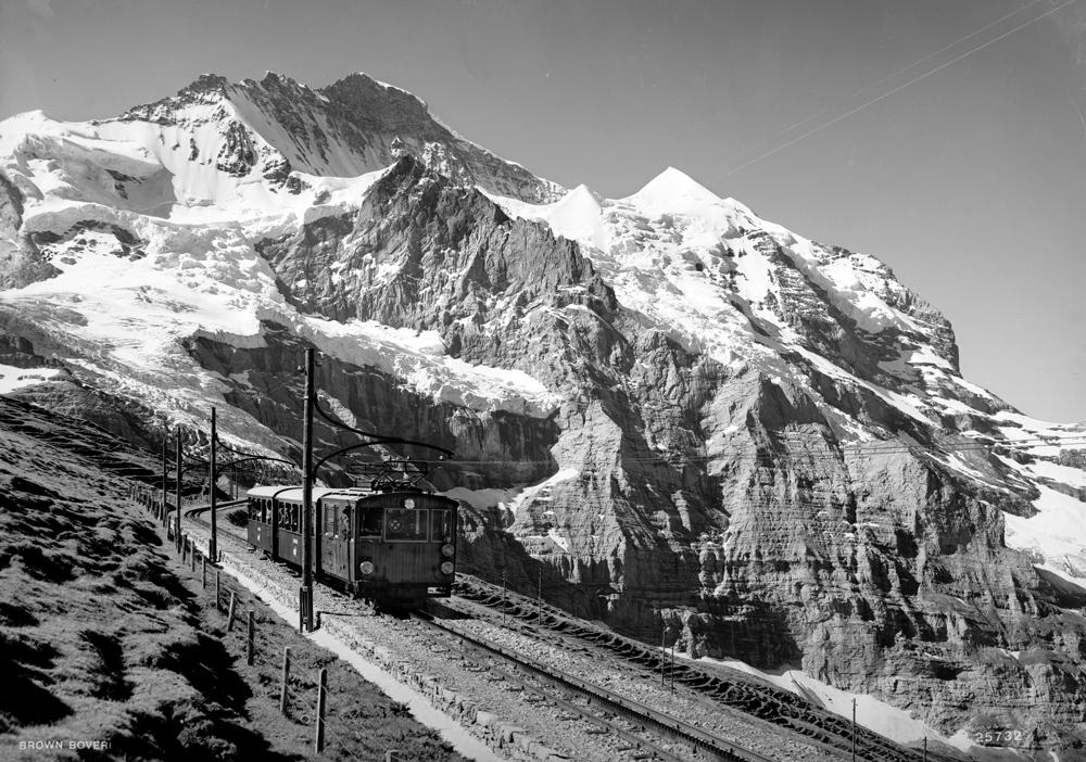 Jungfrau Railways' cog railway (ca. 1928)