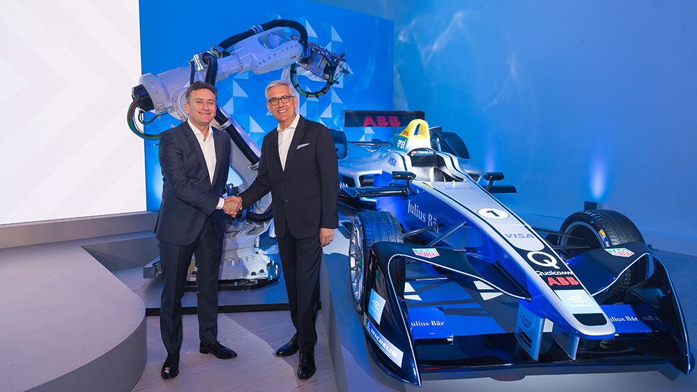 Alejandro Agag, founder and CEO of Formula E, and Ulrich Spiesshofer, CEO of ABB