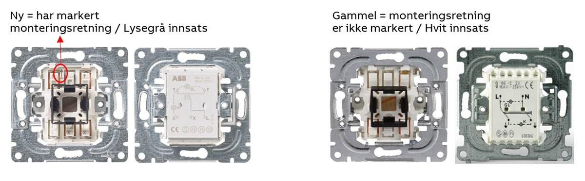 Det er enkelt å se forskjellen, den nye her markert monteringsretning og lysegrå innsats.