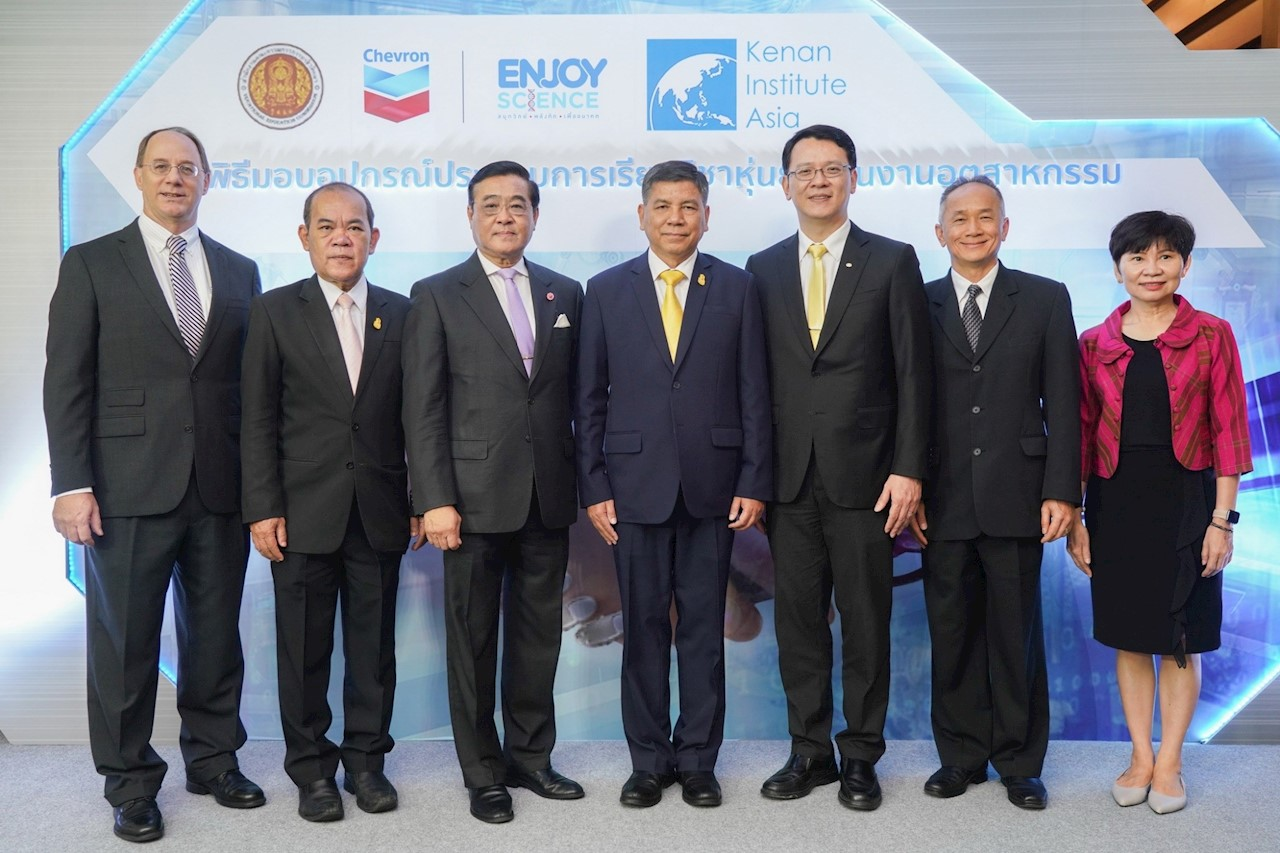 (From left) Mr. Richard Bernhard, Executive Director of Kenan Institute Asia; Dr. Sarojn Kojuantiaw, Adviser to Vocational Education Standard of the Vocational Education Commission; Mr. Piyabutr Cholvijarn, President of Kenan Institute Asia; General Sutat Karnjananonkul, Adviser to Deputy Education Minister; Mr. Artit Krichphiphat, Business Support General Manager at Chevron Thailand Exploration and Production, Ltd.; Mr. Chaiyot Piyawannarat, Country Managing Director of ABB in Thailand, Myanmar, Cambodia and Laos; and Ms. Hatairat Articharte, Policy, Government and Public Affairs manager at Chevron Thailand Exploration and Production, Ltd.