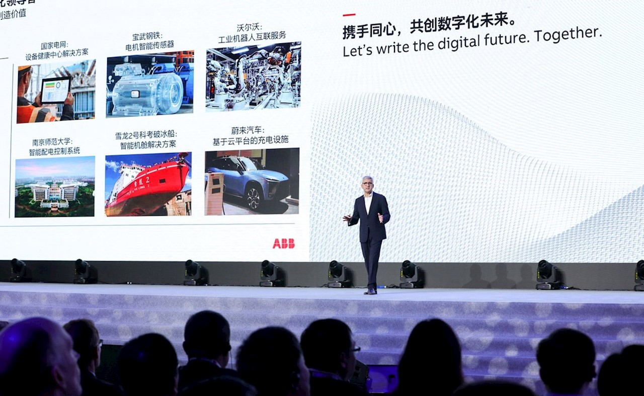 ABB CEO Ulrich Spiesshofer delivers the keynote speech at this year's ACW China