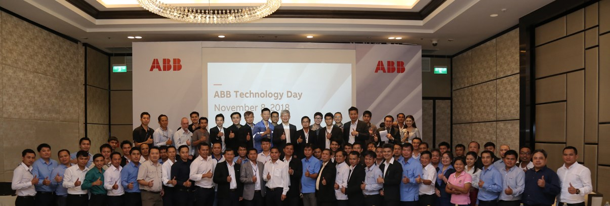 Group picture of all attendees at ABB Technology Day 2018 in Vientiane, Laos