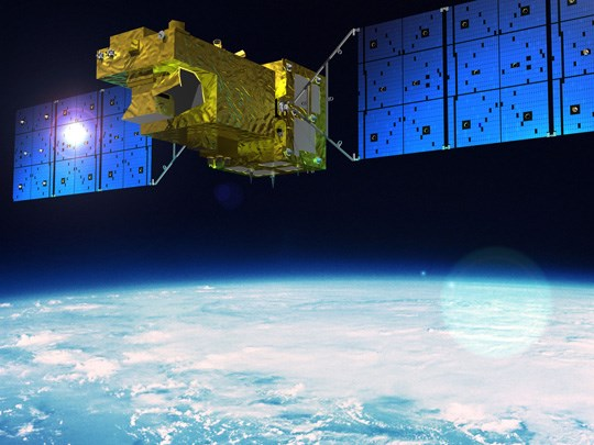 Rendering of GOSAT-2 in Orbit.  Image credit: Mitsubishi Electric Corporation