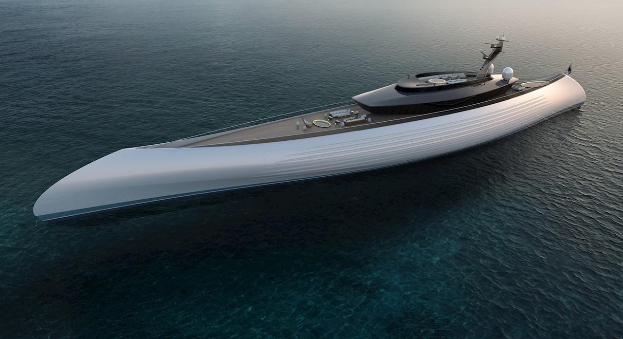Superyacht i klassisk design får kontraroterende elektrisk fremdriftssystem fra ABB som øker effektiviteten med 10 prosent (Ill. Oceanco)