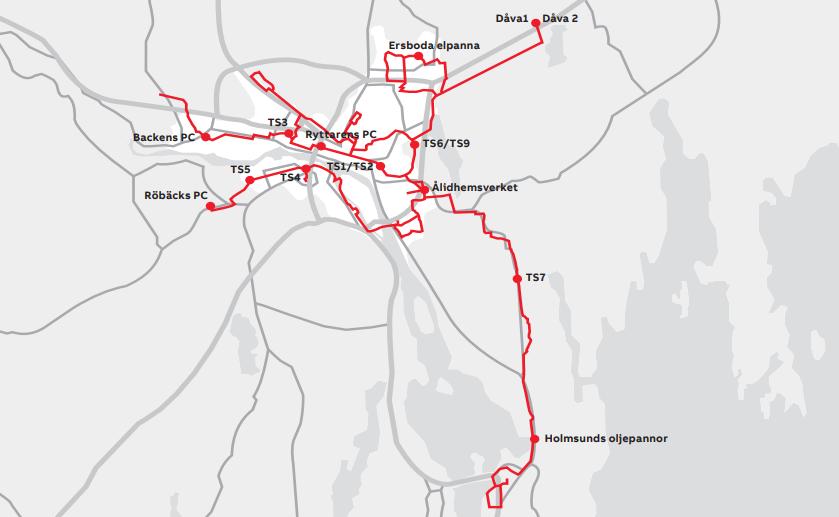Umeå Energis fjärrvärmenät sträcker sig över hela centrala Umeå samt närliggande samhällen. Foto: ABB
