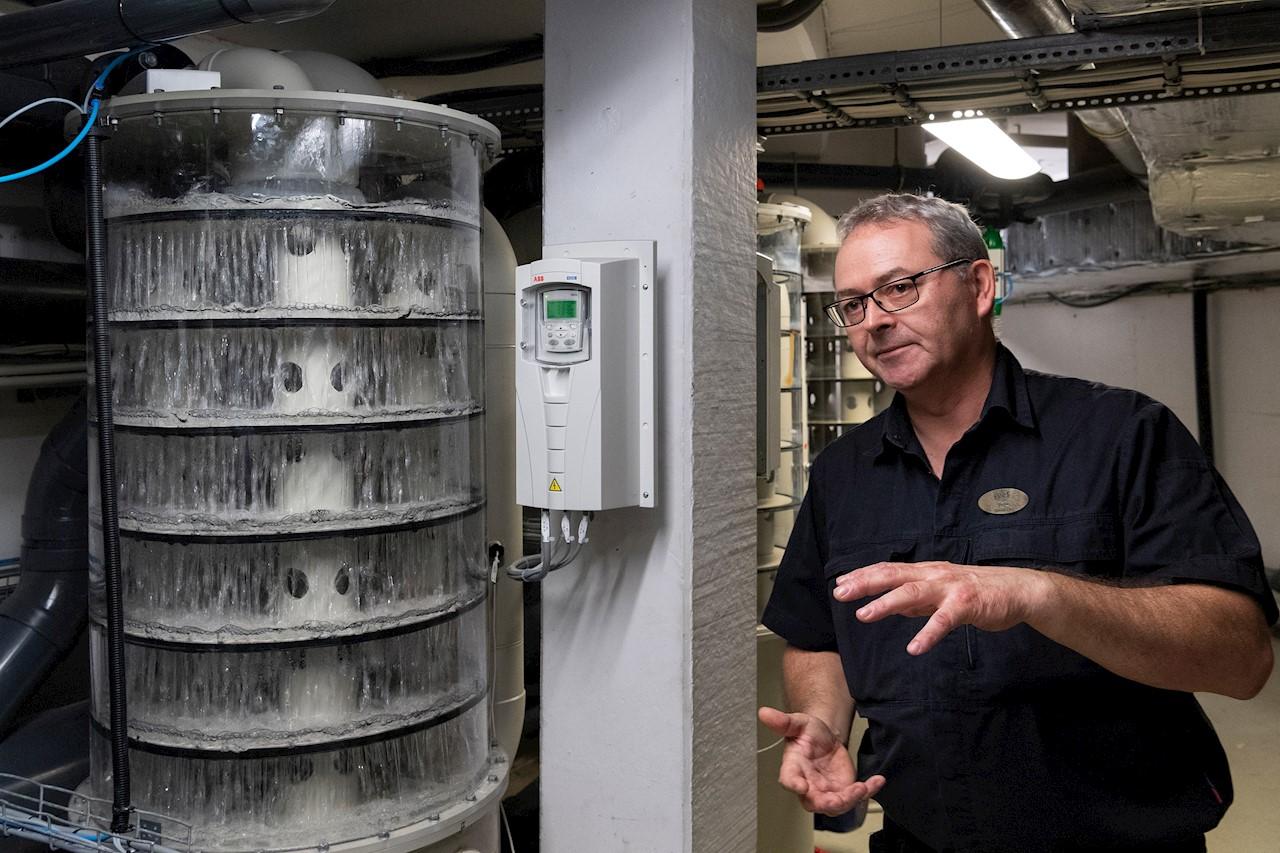 Stripperen er med til at sikre en god badevandstemperatur og styres af en ABB frekvensomformer, fortæller teknisk chef Peter Jørgens