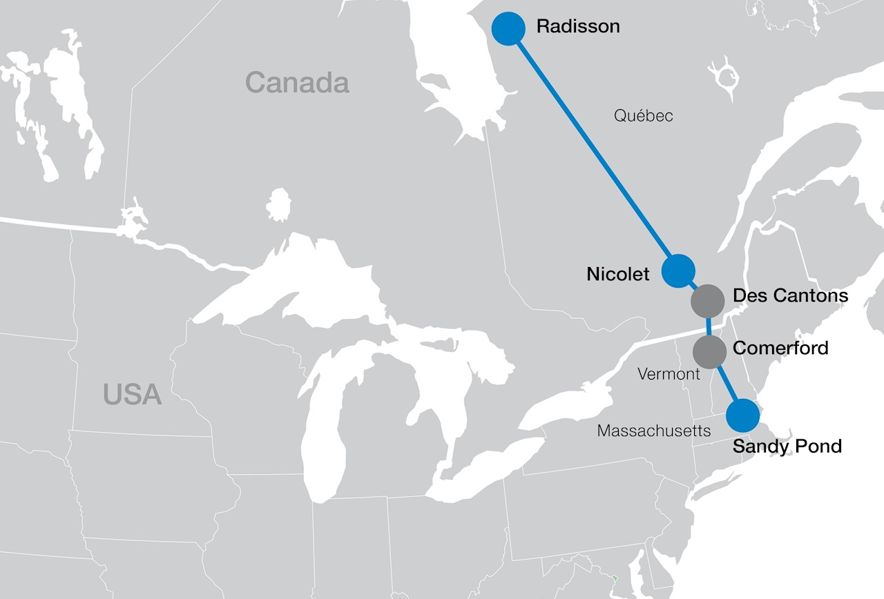 Map Of New England And Quebec.Abb Wins 75 Million Hvdc Order In North America