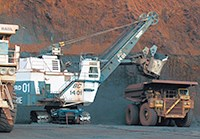 Open pit mining excavator