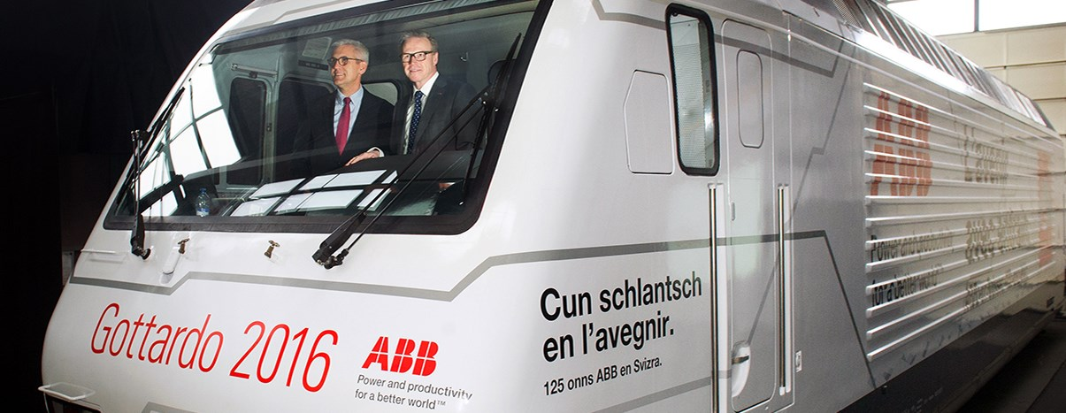 """On track to the future"""" – ABB branded SBB locomotive at the opening"""