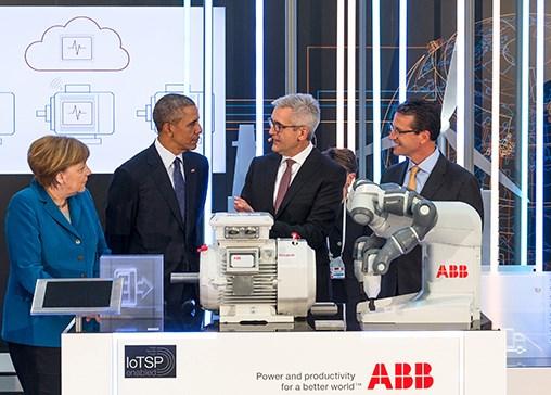 German Chancellor Angela Merkel, US President Barack Obama, ABB CEO Ulrich Spiesshofer, ABB Americas Region President Greg Scheu