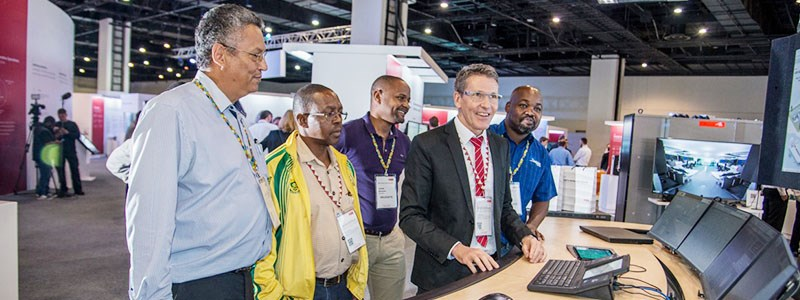 ABB's Martin Knabenhans, Head of Product Managment and Devlopment, Mining Aluminium and Cement with customers at ABB Customer World Africa 2018