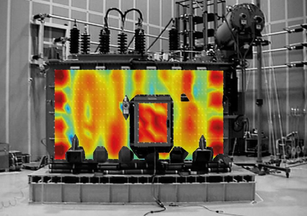 Operating deflection shape of 40 MVA transformer tank at 100 Hz.