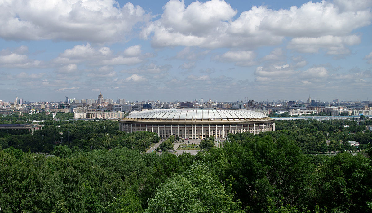 A view of Luzhniki Stadium from Vororbyevy Gory in Moscow, Russia - By Zeynel Cebeci - Own work, CC BY-SA 4.0, https://commons.wikimedia.org/w/index.php?curid=38898897