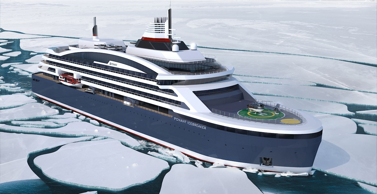 The luxury polar expedition cruise ship, due delivery for the French cruise company PONANT in 2021, will feature two Azipod® VI propulsion units fit for the most challenging ice conditions. (Image: © Ponant-Stirling International)