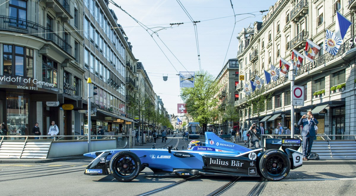 ABB FIA Formula E Championship race driver Sébastien Buemi drives through Zurich