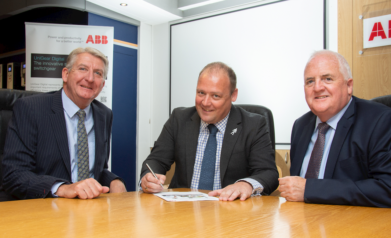 RaceTransmissions' Tony Harris (L) and Chris Fell (R) are pictured with Richard Gee, ABB's UK Channel Manager for LV Motors