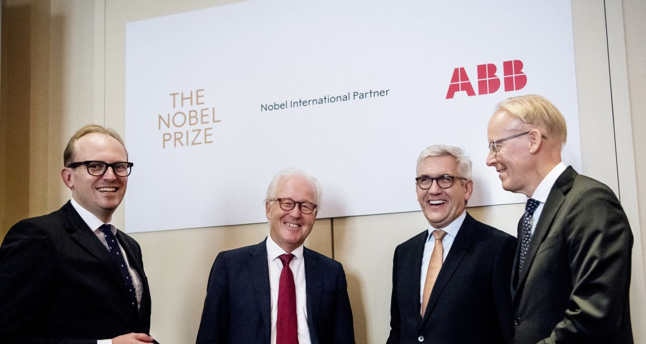 CEO of Nobel Media Mattias Fyrenius, Executive Director der Nobel Stiftung, Lars Heikensten, ABB CEO Ulrich Spiesshofer und Johan Söderström, Managing Director, ABB Sweden.