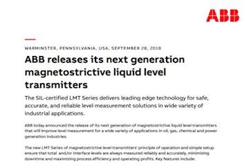 ABB releases its next generation magnetostrictive liquid
