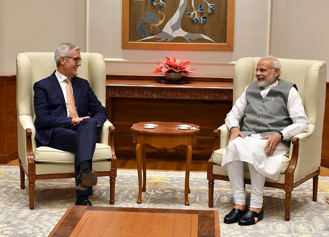 ABB CEO Ulrich Spiesshofer meeting with India's Prime Minister Modi in New Delhi