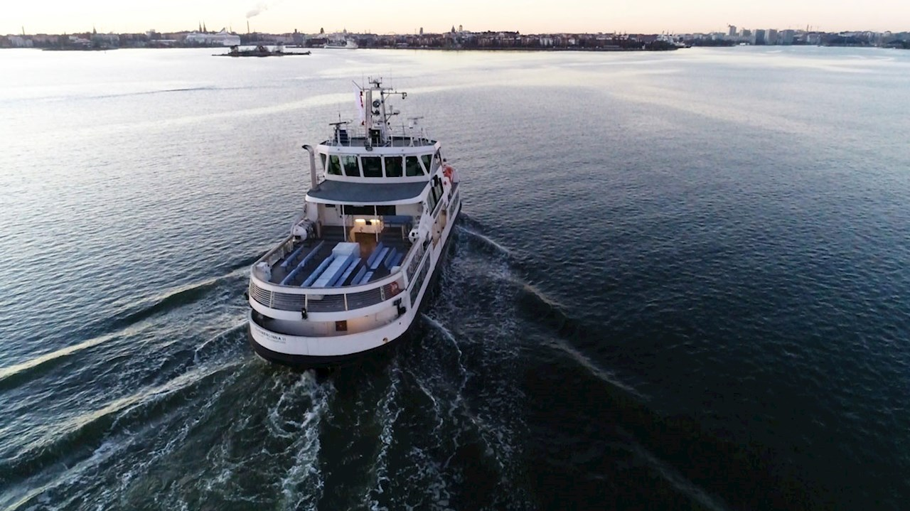 Suomenlinna II ferry remotely piloted through the Helsinki harbor