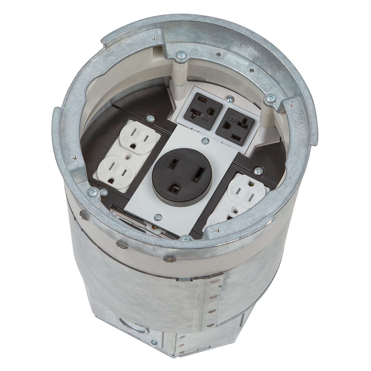 ABB's Steel City® 8-inch recessed poke-through (RPT8) floor box
