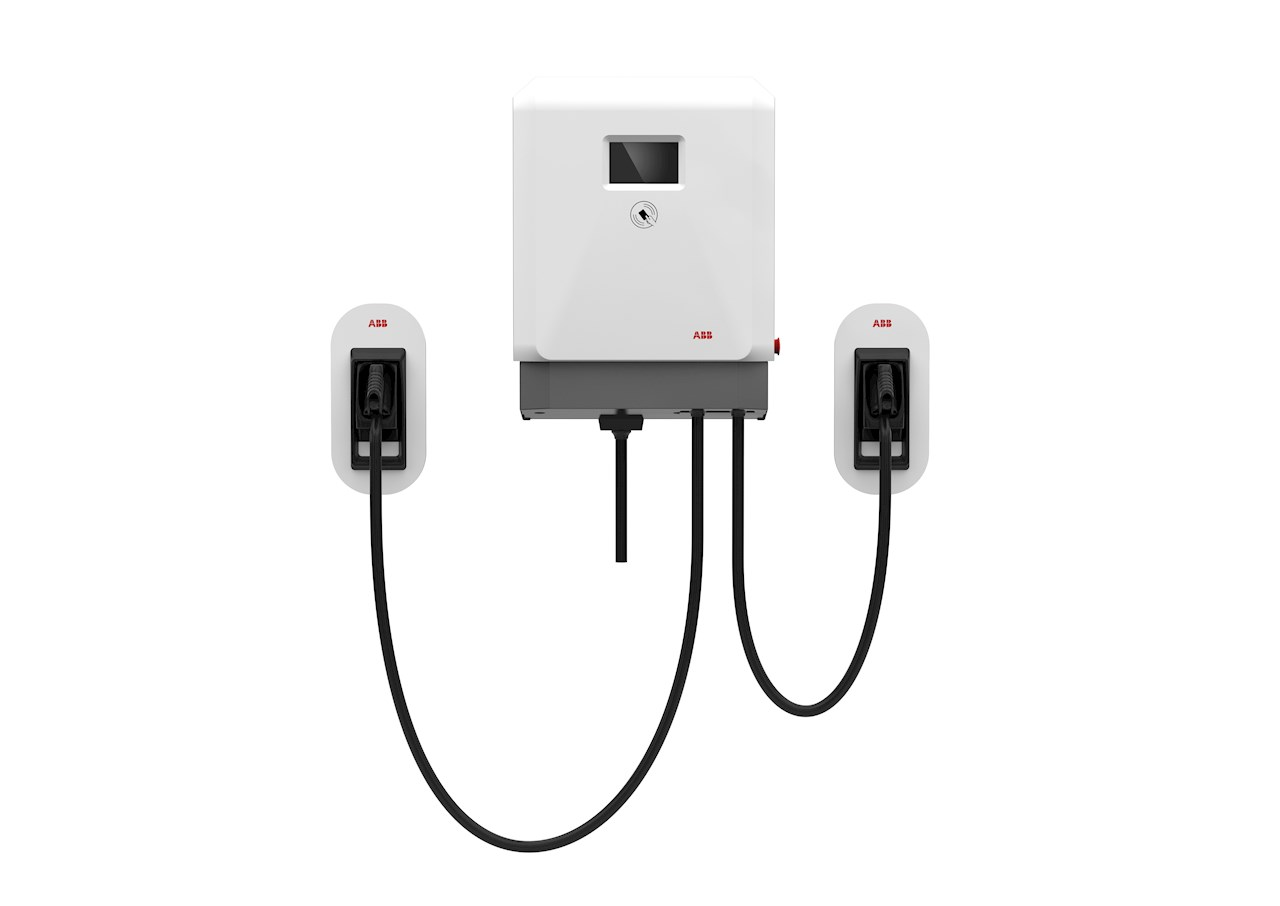 The ABB DC wallbox is available with single or twin outlets, supporting both CCS and CHAdeMO standards