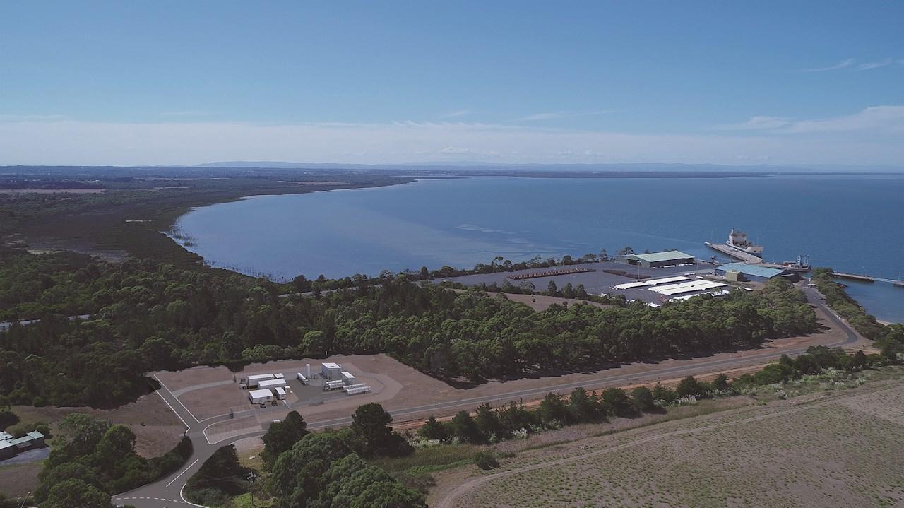 ABBは、「世界初」のHESCプロジェクトの一環として、ビクトリア州のヘイスティングス港にあるオーストラリア初の水素液化・ローディングターミナルに電力を供給する計測およびエレクトリフィケーションソリューションを提供しています。写真提供:©川崎重工業株式会社