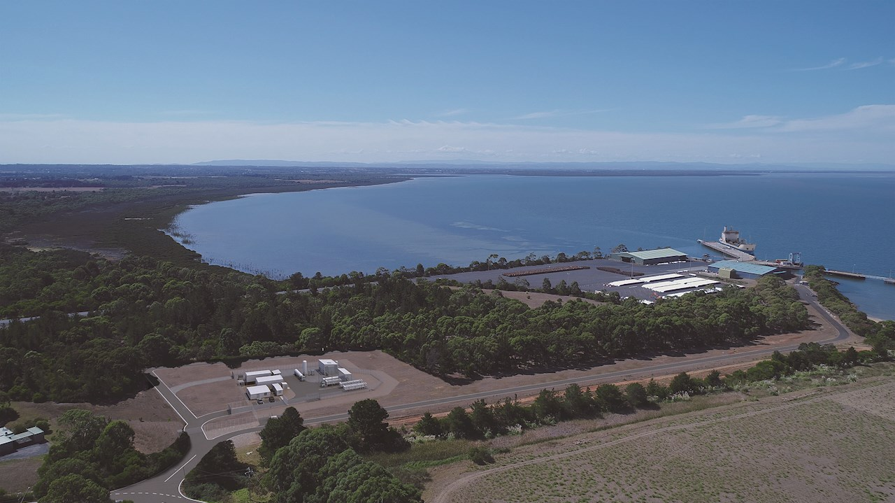 ABB is providing instrumentation and electrification solutions to power Australia's first Hydrogen Liquefaction and Loading Terminal at the Port of Hastings in Victoria as part of the 'world-first' HESC project. © Kawasaki Heavy Industries