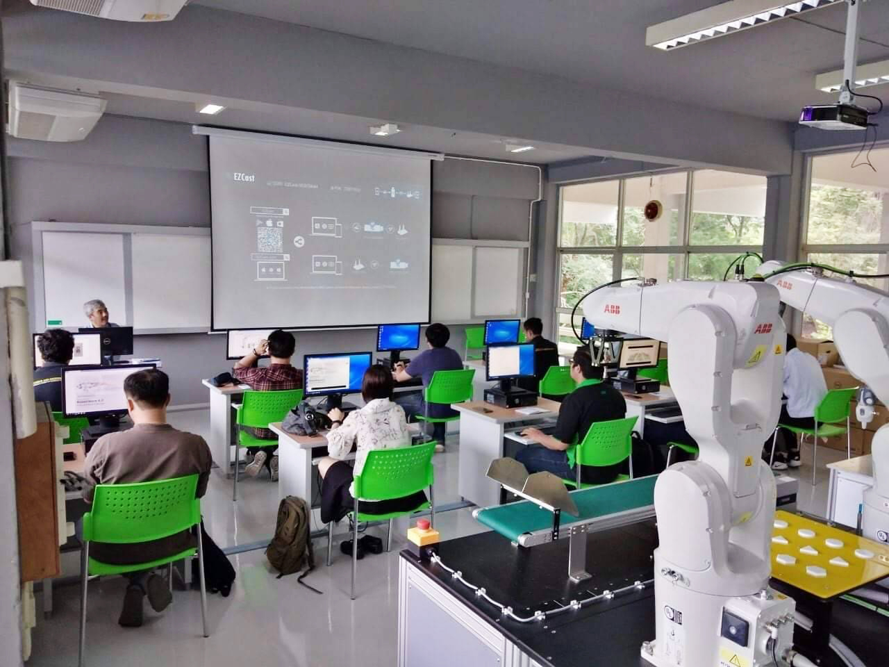 The training programs have been offered to the students and those who are interested in industrial robotic applications