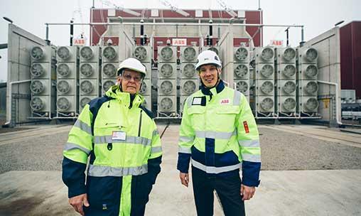 Harri Nurminen, Fingrid responsible for HVDC maintenance contracts, and Jari Konttinen from ABB