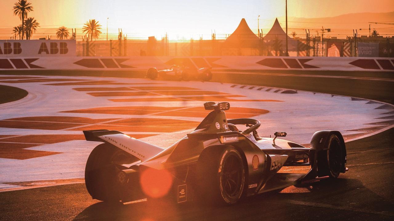 01 Une Nissan e.Dams en action sur le circuit de Marrakech (Maroc) pendant le championnat 2019.