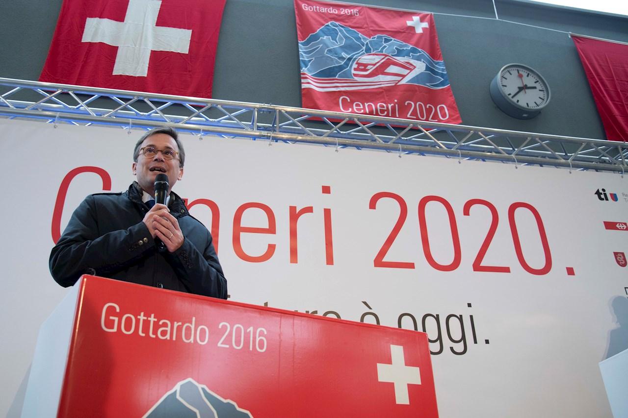 Christian Vitta, Regierungspräsident Kanton Tessin, eröffnete die Feierlichkeiten in Lugano. © SBB