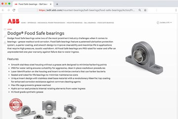 ABB's new Dodge® Food Safe bearings designed for aggressive cleaning