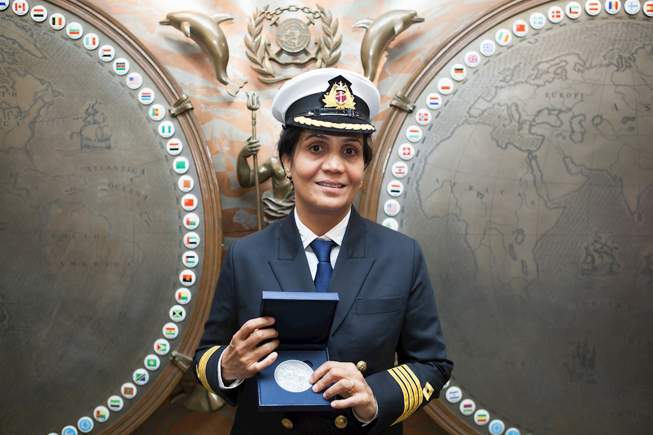 Captain Radhika Menon received the 2016 IMO Award for Exceptional Bravery at Sea. Image courtesy of IMO.