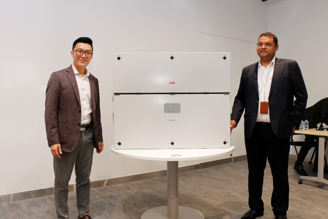 TaiYeap Wai, Local Sales and Marketing Manager, Electrification Products Division and Divya Kumar, Product Marketing Director for the solar business with the newly launched inverter