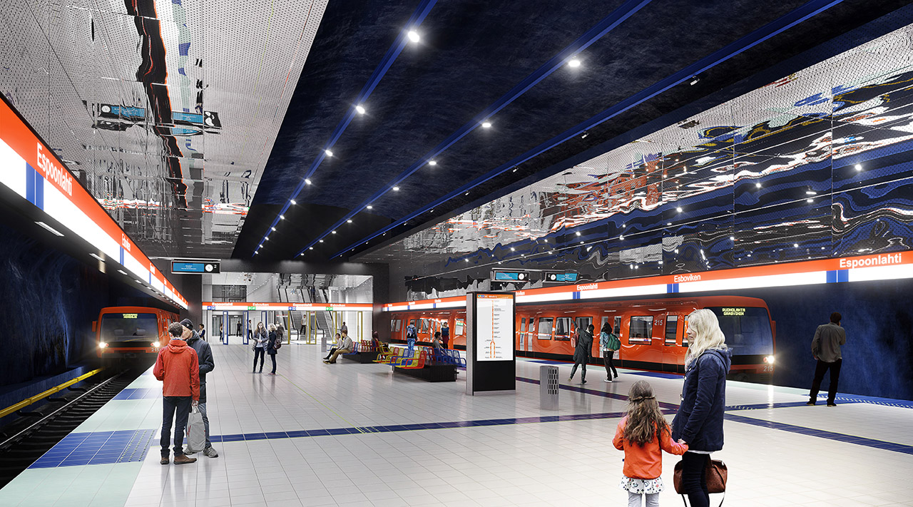 ABB Ability™ MicroSCADA Pro -ohjelmistoon perustuvan järjestelmän avulla valvotaan niin metroasemia kuin metro- ja huoltotunneleita, poistumiskuiluja, asemien ovia, hissejä, liukuportaita, valaistusta, savunpoistoa ja hälytystoimintoja. Kuva: © ALA Architects