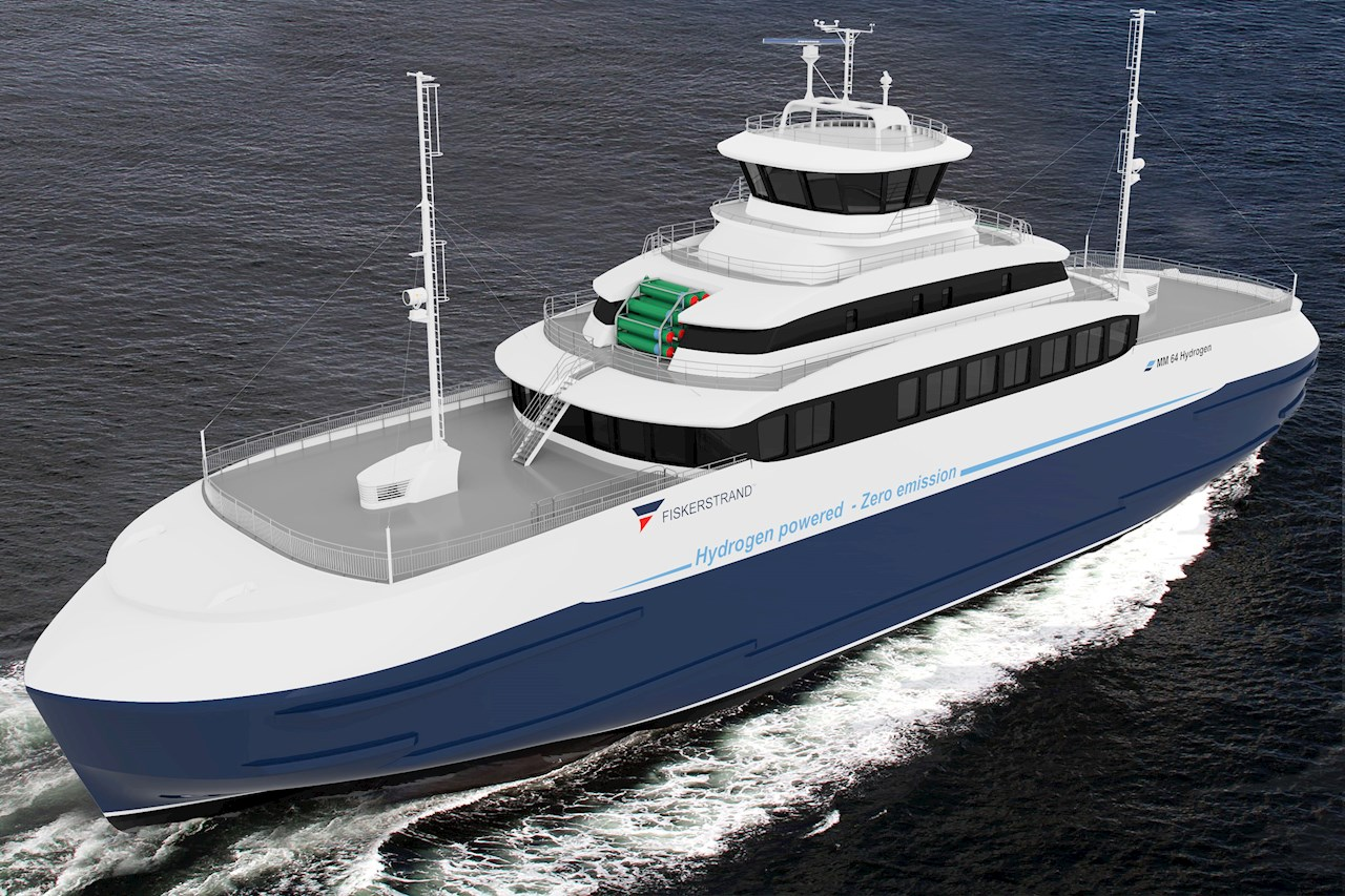 Concept sketch of a hydrogen hybrid ferry. Image credit Fiskerstrand Holding.