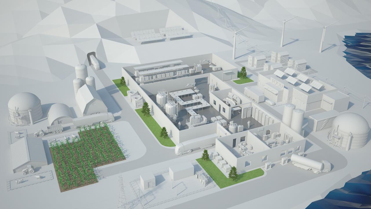 Framtidens fabrik i en 3D-modell som vi visas upp på skärmarna i montern.