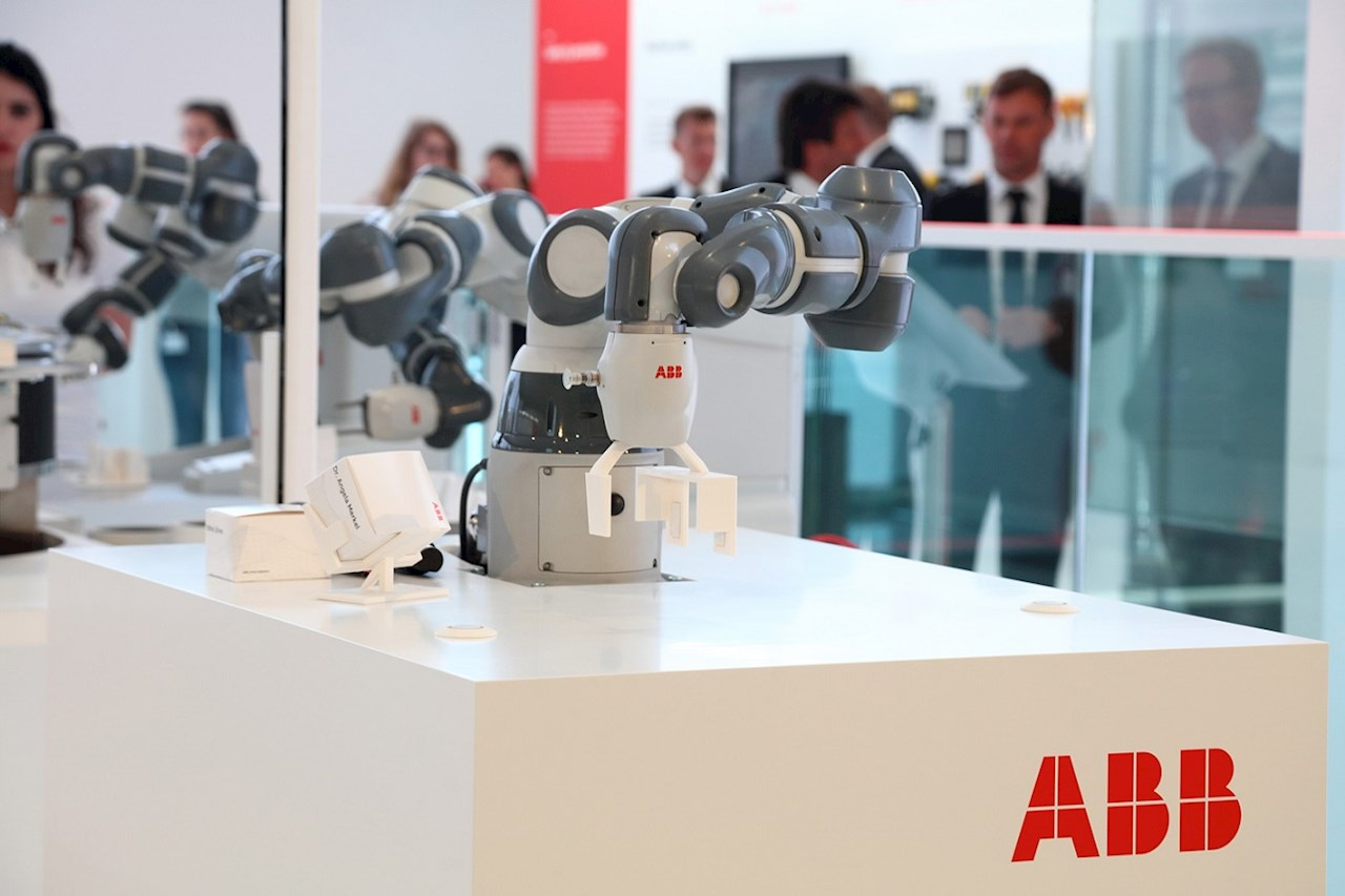 YuMi®, the world's first collaborative dual-arm robot,  at the Hannover Messe 2019