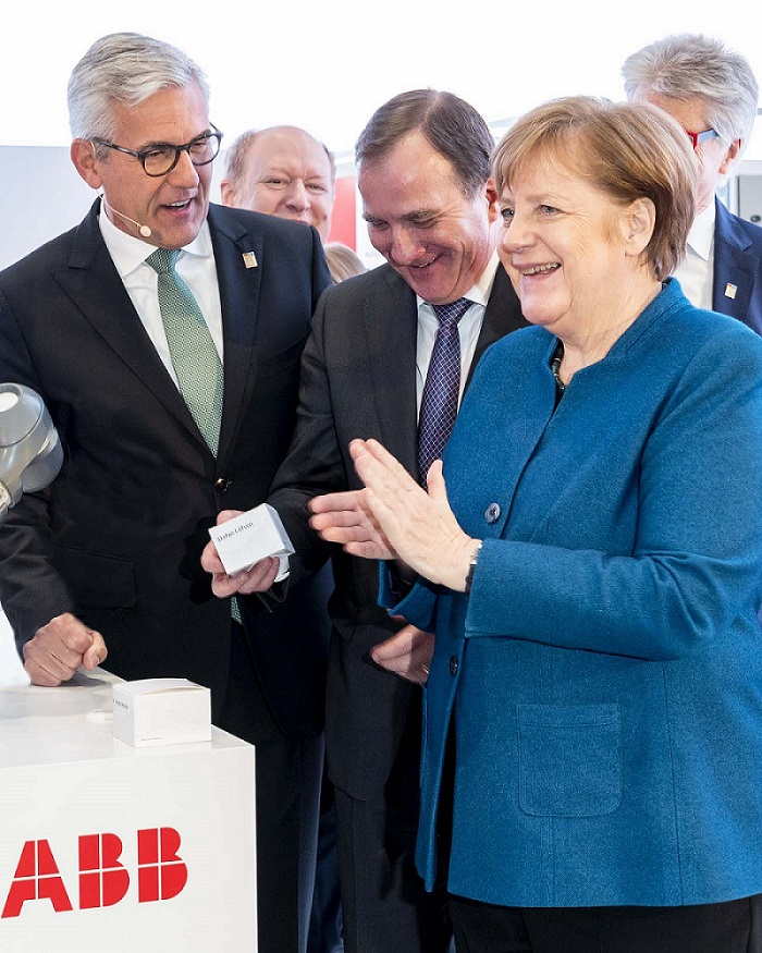 From right to left: Angela Merkel, Federal Chancellor; Stefan Löfven, Prime Minister of Sweden; Ulrich Spiesshofer, CEO ABB