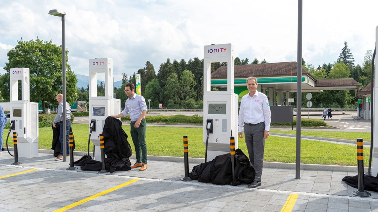 ABB's Terra High Power electric-vehicle chargers enable launch of IONITY service station on the A2 motorway in Switzerland