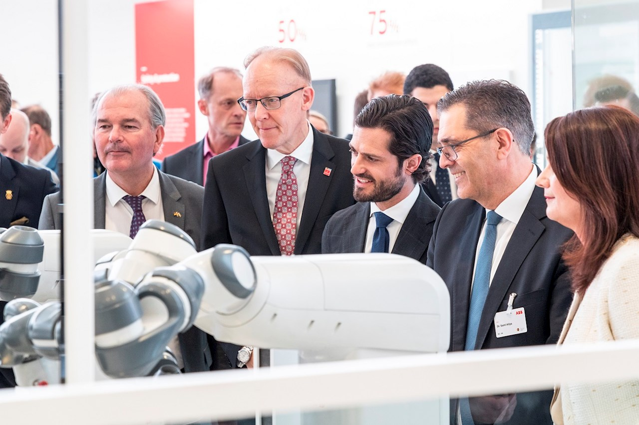 Sweden's prince HRH Carl Philip visits the ABB booth