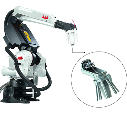 01 The use of light-weight high performance industrial paint robots can result in lower operational costs. A light-weight paint manifold located at the tip of the robot arm is essential.