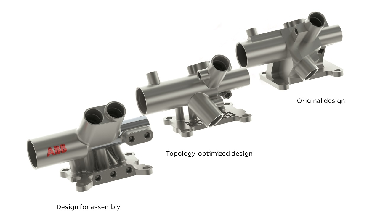 02 Evolution of the design phases of a lightweight paint manifold is shown. All air pilot inlets are located on the same side (left).
