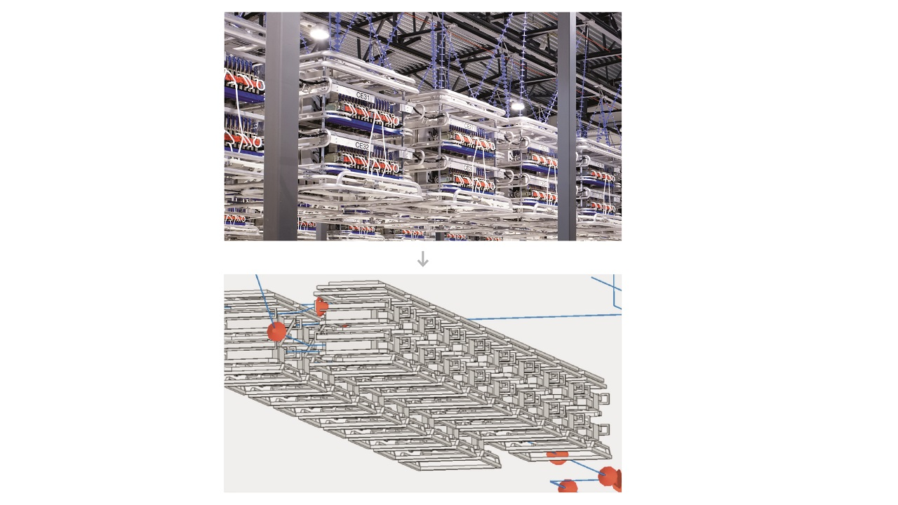 01 HVDC Light valve hall and a screenshot of its 3D digital twin in CST.