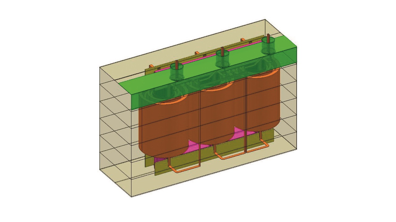 02 The concept of StudyTrafo's interface is to generate simulation models based on the input data of the mechanical dimensions of transformer components: core and yoke clamps, windings, tank and shielding.