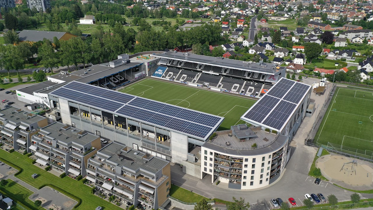 Skagerak Arena er også et solkraftverk